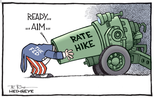 Rate hike The Fed cannon cartoon