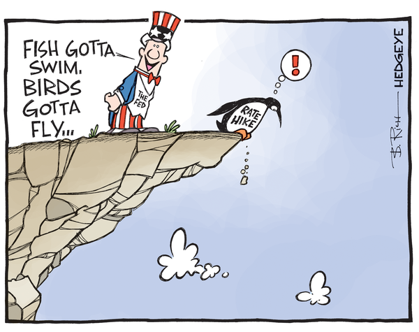 rate hike cartoon - Uncle Sam & penguin