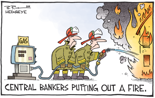 Central banks putting out a fire cartoon