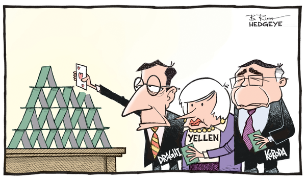Draghim Yellen, Kuroda house of cards cartoon