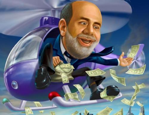 Bernanke in a chopper with money