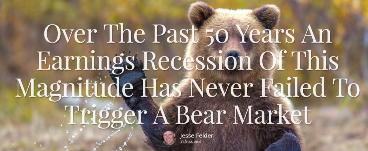 earnings recession, bear market - Jesse Felder