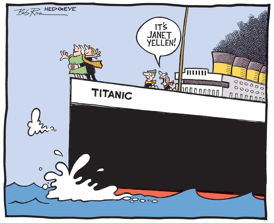 Janet Yellen - Titanic, cartoon